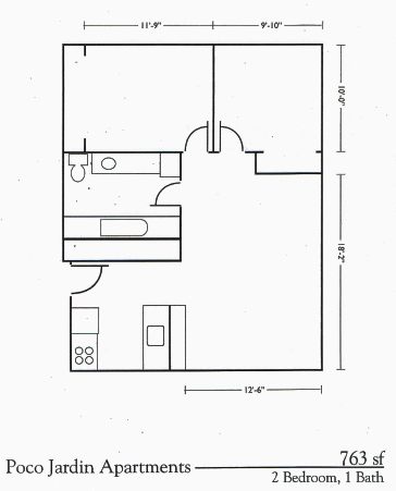 Two Bed One Bath Floorplan