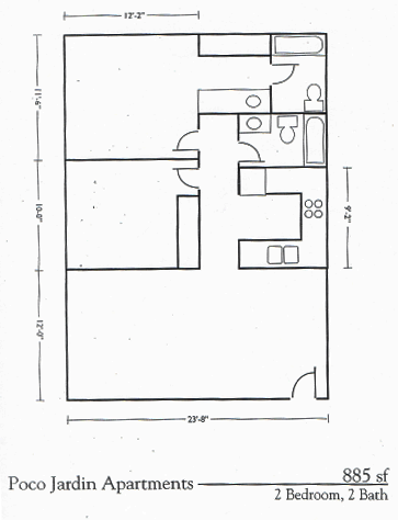 Two Bed Two Bath Floorplan