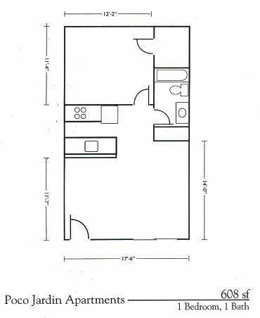 One Bed One Bath Floorplan